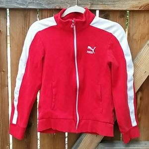 Puma red track suit jacket joggers set small